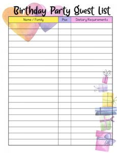 printable birthday party planner template 2020 for kids and busy moms birthday party schedule template