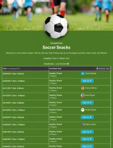 printable create soccer sign up forms for your team snacks volunteers sports snack schedule template sample