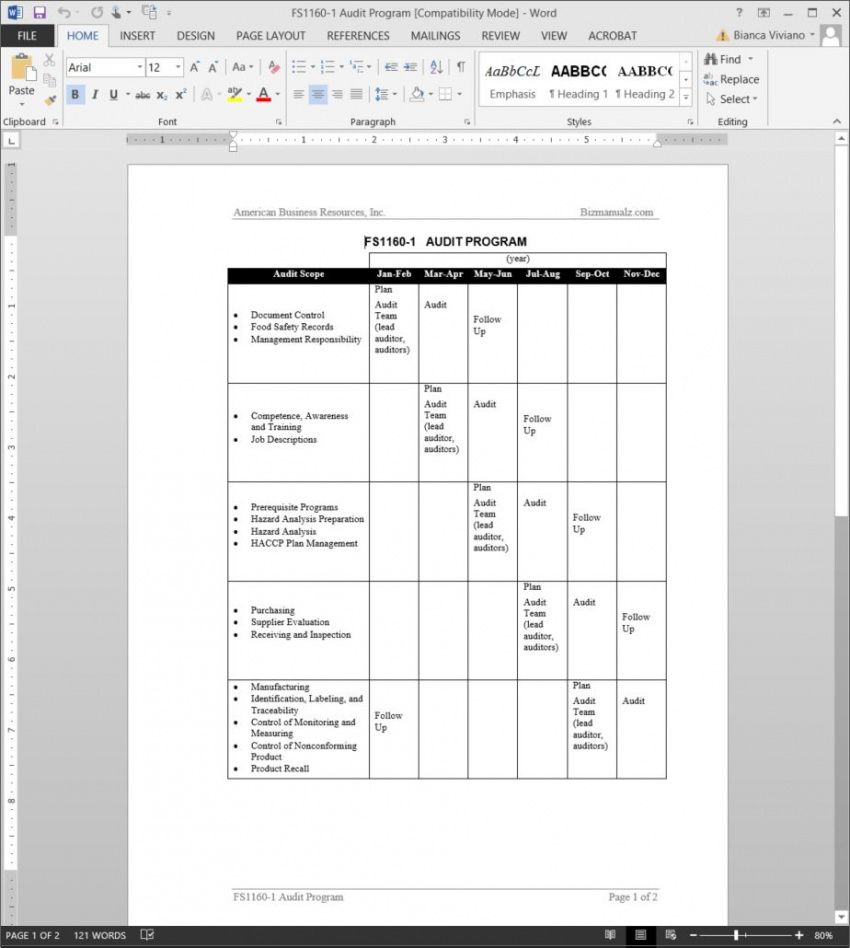 printable fsms audit program template  fds11601 safety audit schedule template