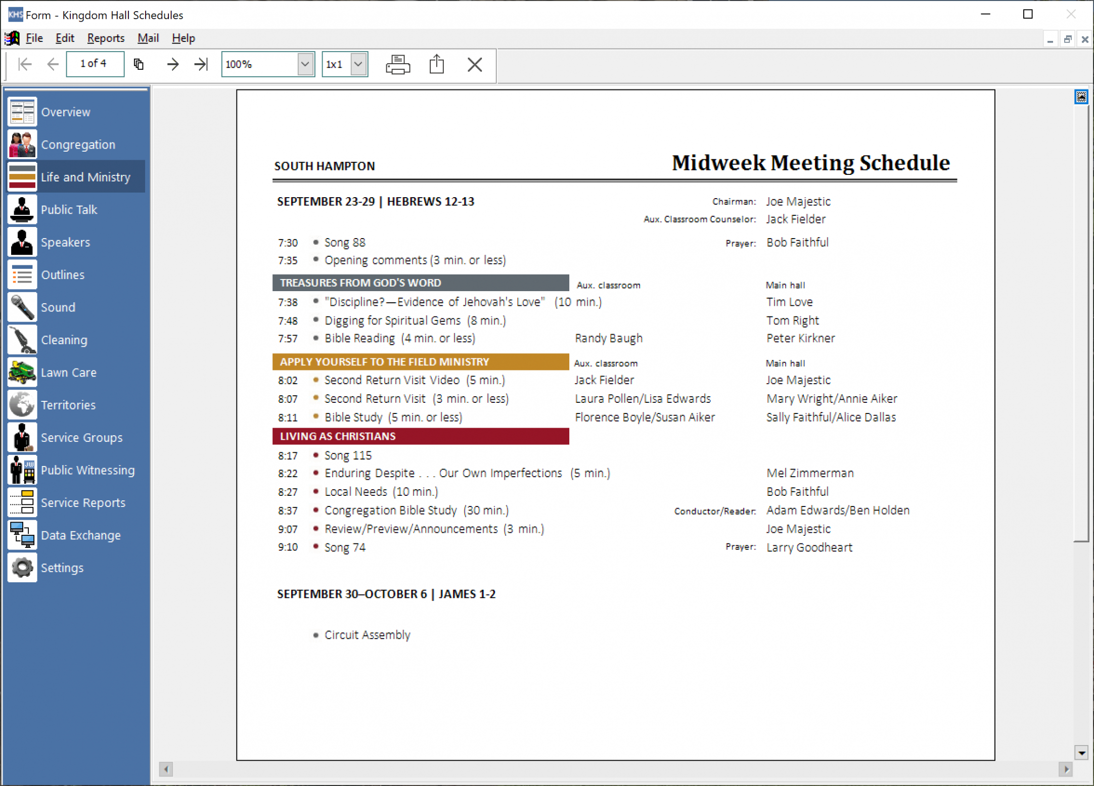 printable majestic software  khs circuit overseer visit schedule template word