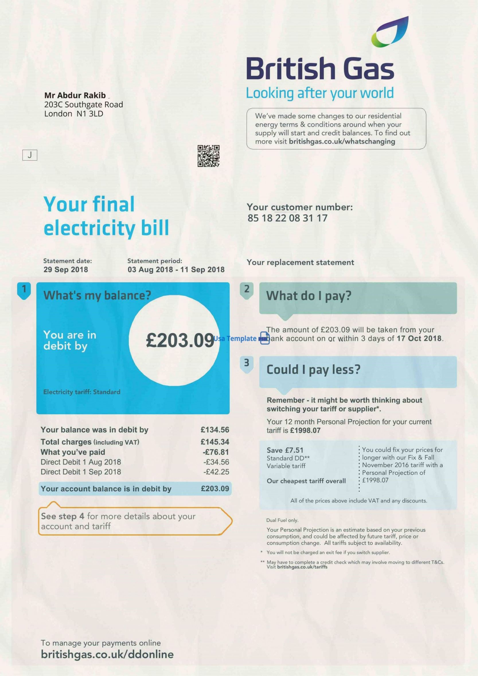 printable uk utility bill psd template 1 uk proof of address psd template 1  british gas bill psd template uk utility bill template word
