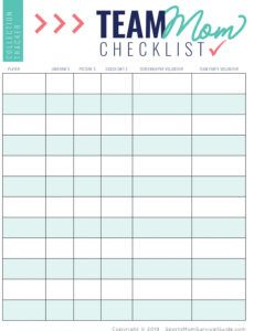 sample download sportsmom todo checklist  schedule templates sports snack schedule template