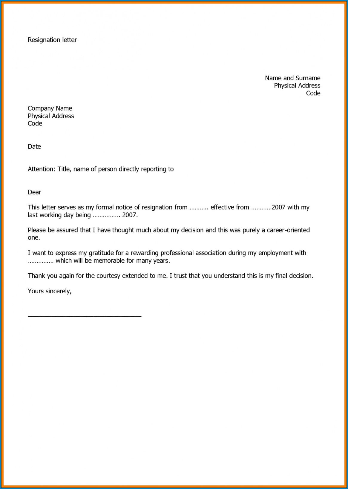sample √ free printable resignation letter of job template at will employment resignation letter word