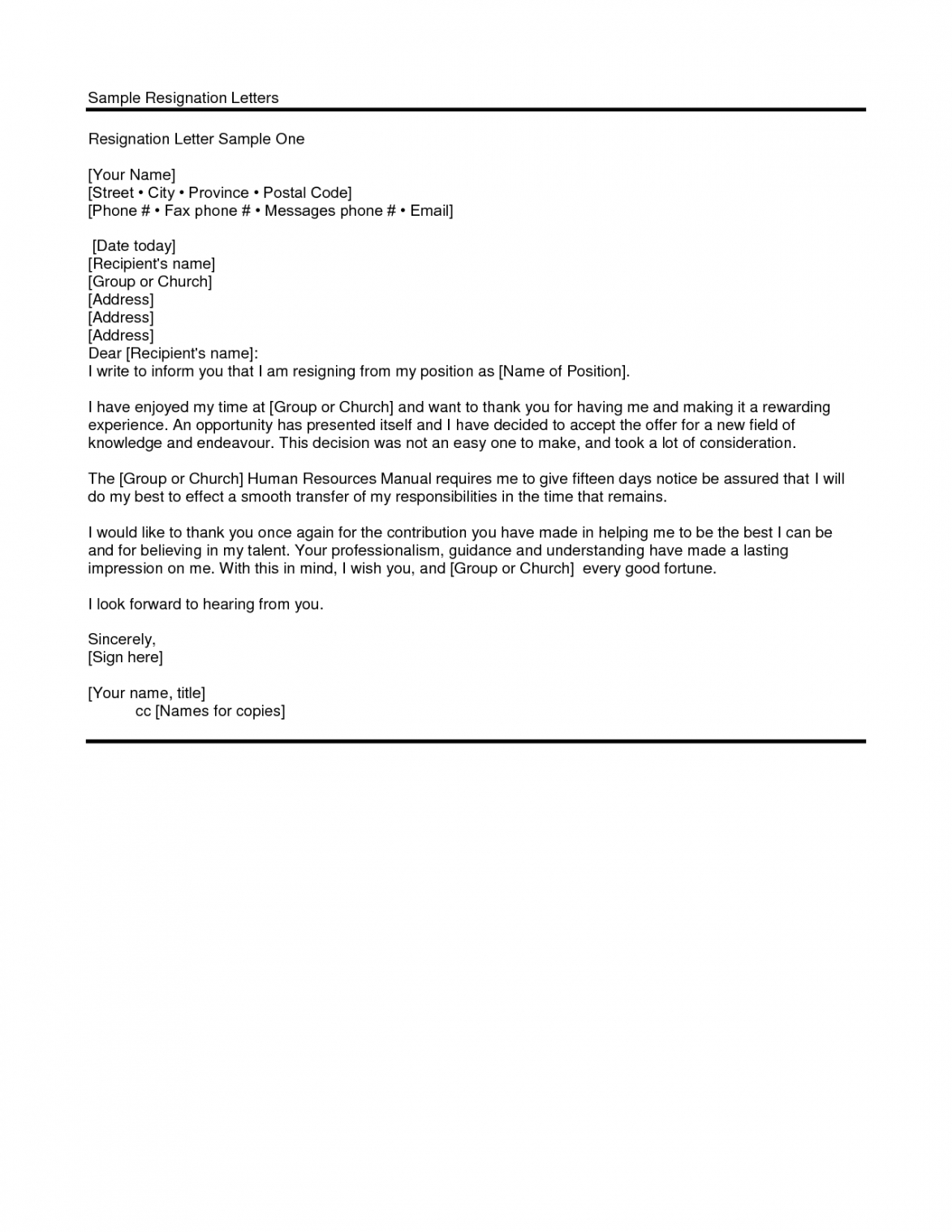 sample resignation letter from church ministry position  free church membership resignation letter pdf