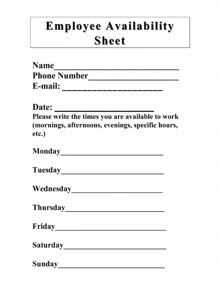 sample work availability template  fill online printable work schedule availability template doc