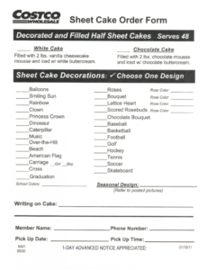 costco cake order form  fill out and sign printable pdf template  signnow bakery order forms template sample