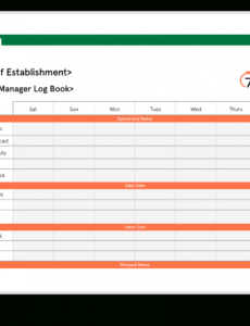 download free restaurant manager log book template restaurant manager schedule template sample
