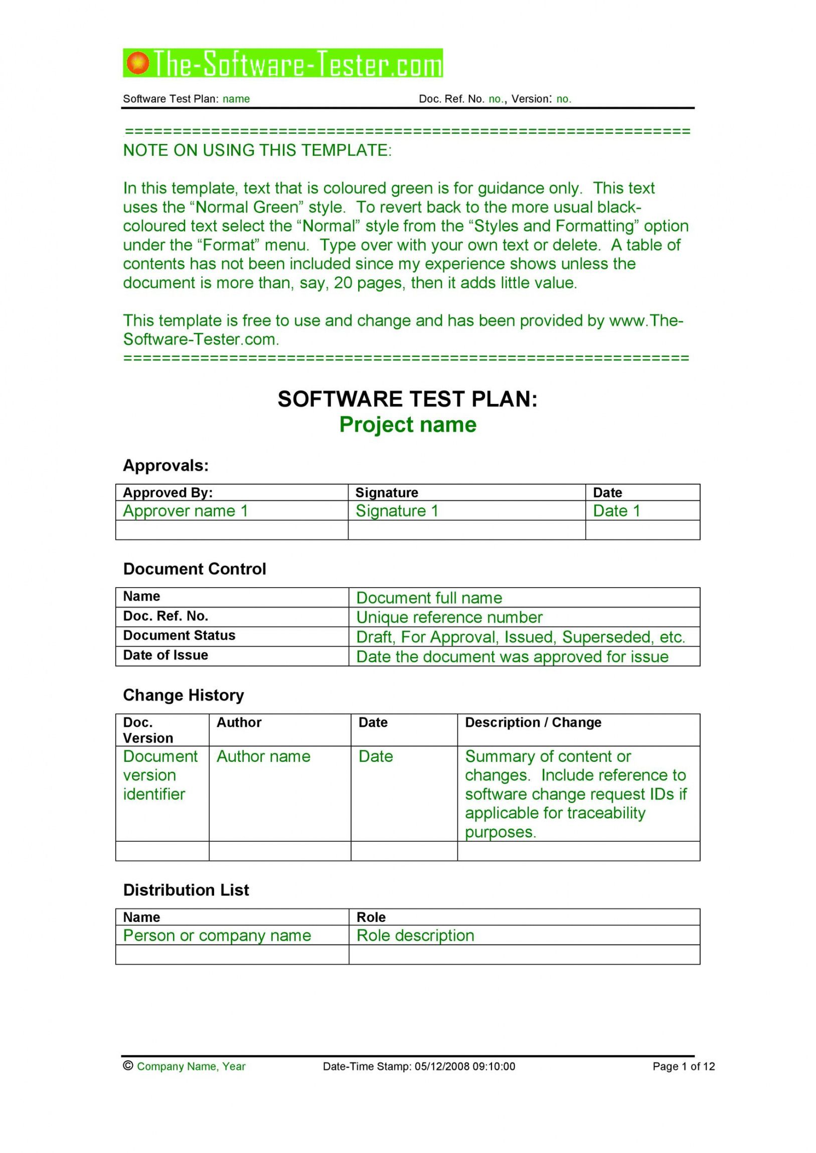 editable 35 software test plan templates & examples  templatelab software testing plan template example