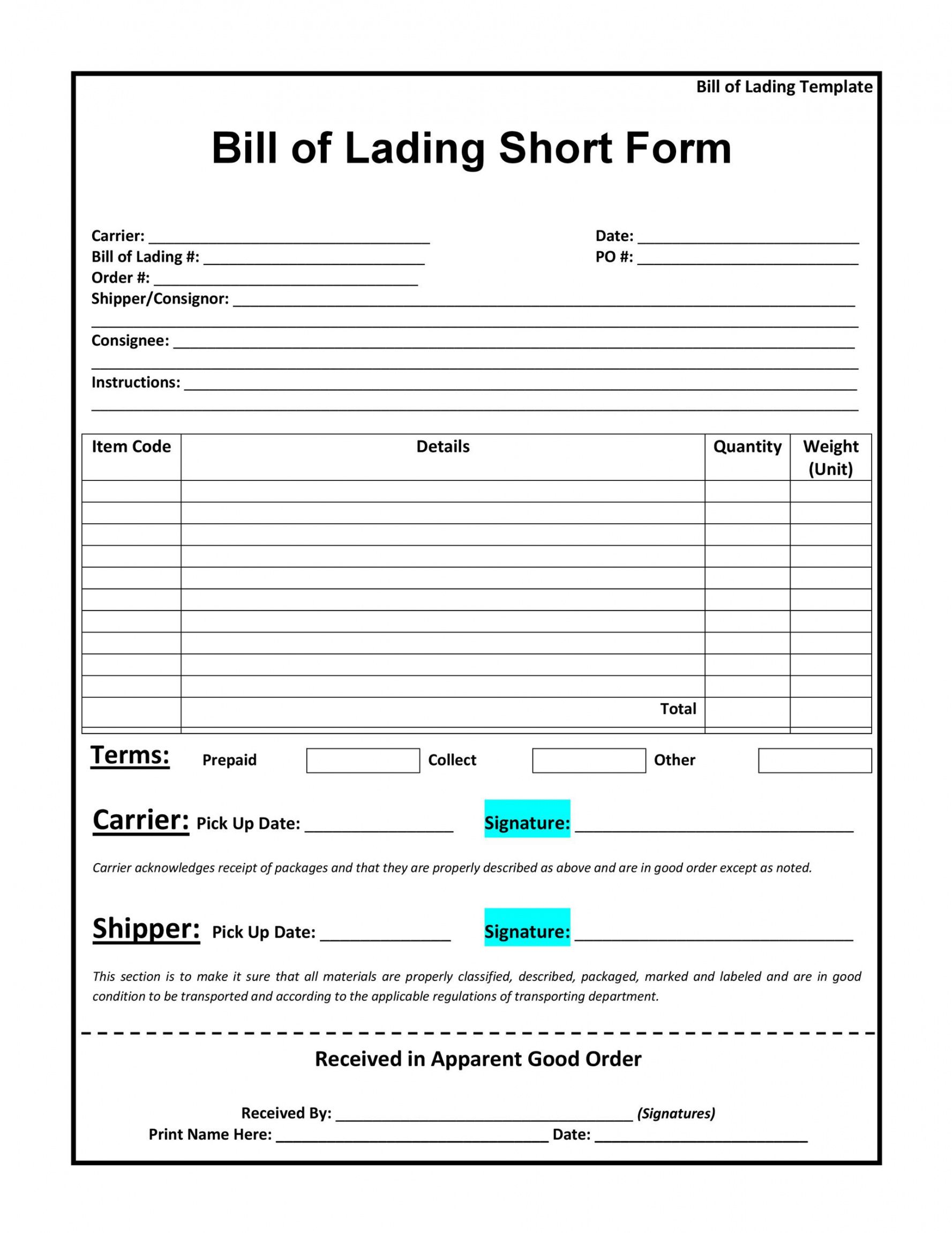 editable 40 free bill of lading forms & templates  templatelab truck bill of lading template example