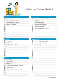 editable 40 printable house cleaning checklist templates  templatelab home chores schedule template