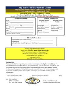 editable big blue youth football camp  notre dame high school football camp schedule template example