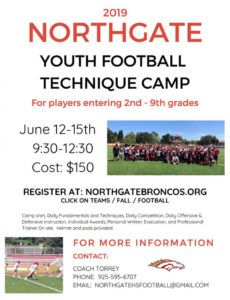editable bronco youth camp football camp schedule template sample