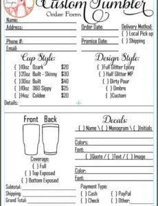editable custom designed order form in pdf & jpg created for you with your logo and  pricing! monogram order form template example