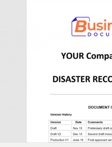 editable disaster recovery plan template  essential cover business continuity and disaster recovery plan template word