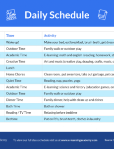 editable elearning daily schedule template daily classroom schedule template word