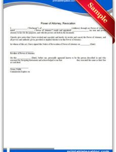 editable free printable power of attorney revocation form generic power of attorney resignation letter template pdf