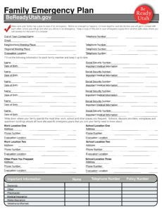 family emergency plan  ivins city family emergency plan template excel