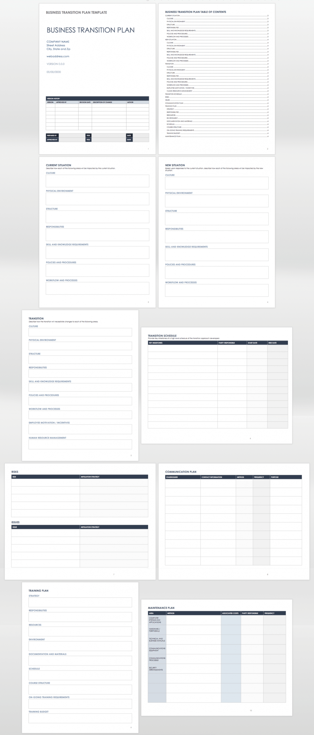 free free business transition plan templates  smartsheet employee transition plan template