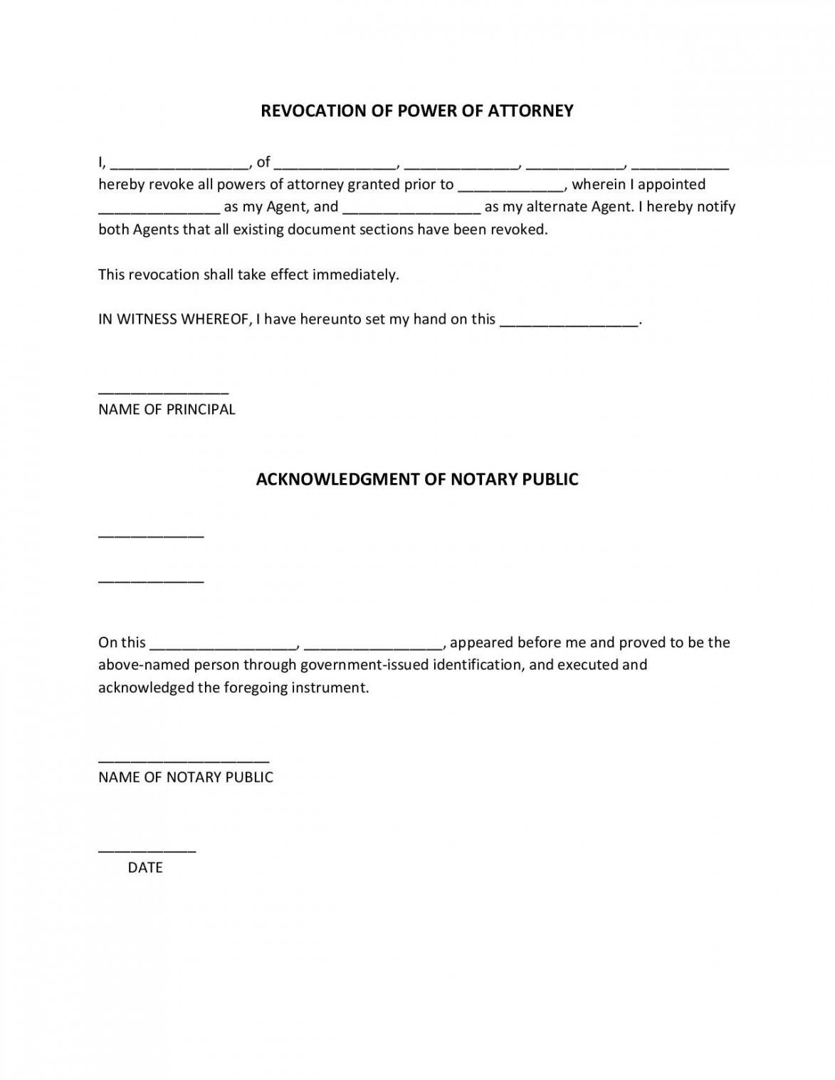 free free revocation of power of attorney forms pdf word power of attorney resignation letter template doc