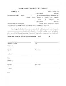 free ontario revocation of power of attorney  legal forms and power of attorney resignation letter template doc