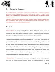 free photography business plan template ~ addictionary photography business plan template