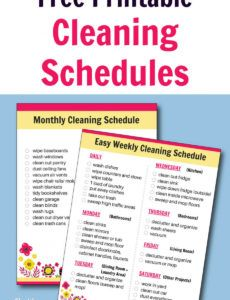 free printable cleaning schedule  daily weekly and apartment cleaning schedule template example