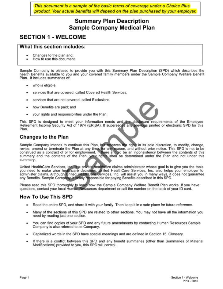 free sample spd pdf  all savers health plans and services summary plan description template doc
