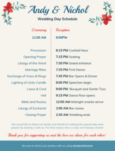 free vintage wedding day schedule template wedding weekend schedule template word