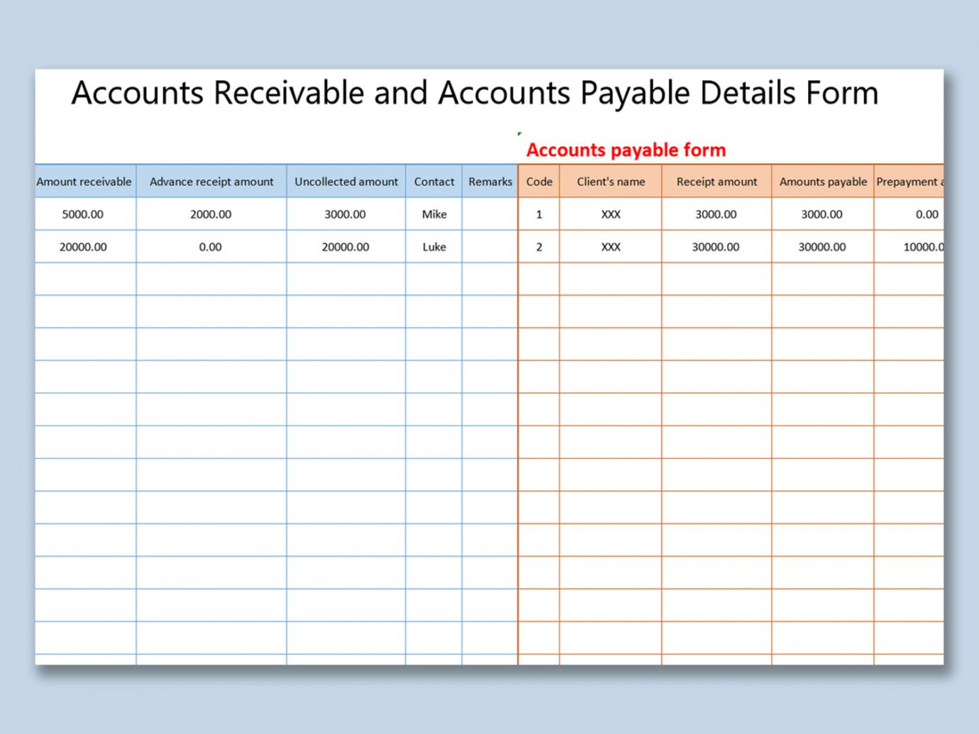 free wps template  free download writer presentation schedule of accounts receivable template