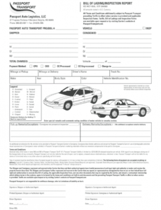 printable bill of lading form  fill online printable fillable vehicle transport bill of lading template pdf