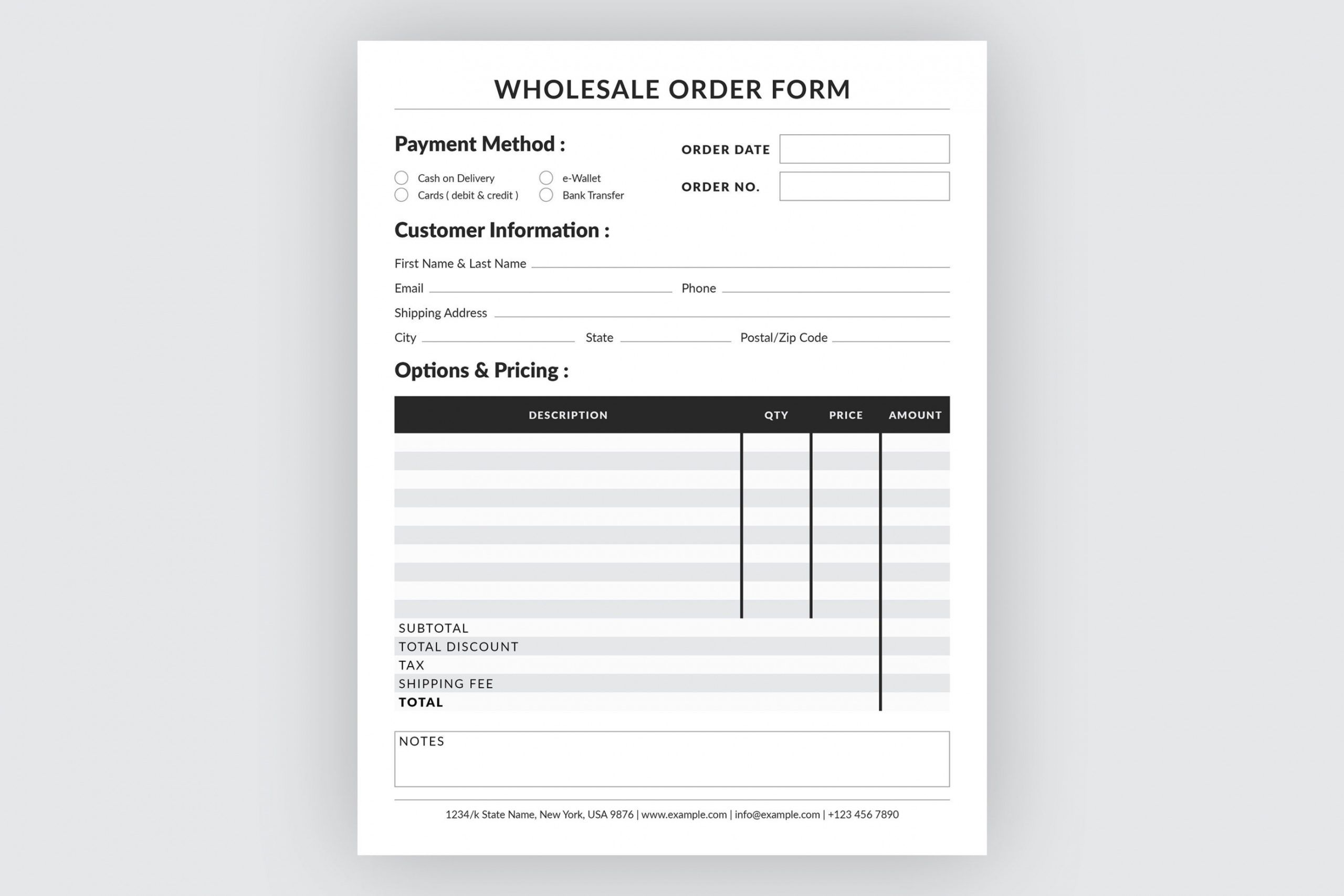 printable editable wholesale order form template monogram order form template sample