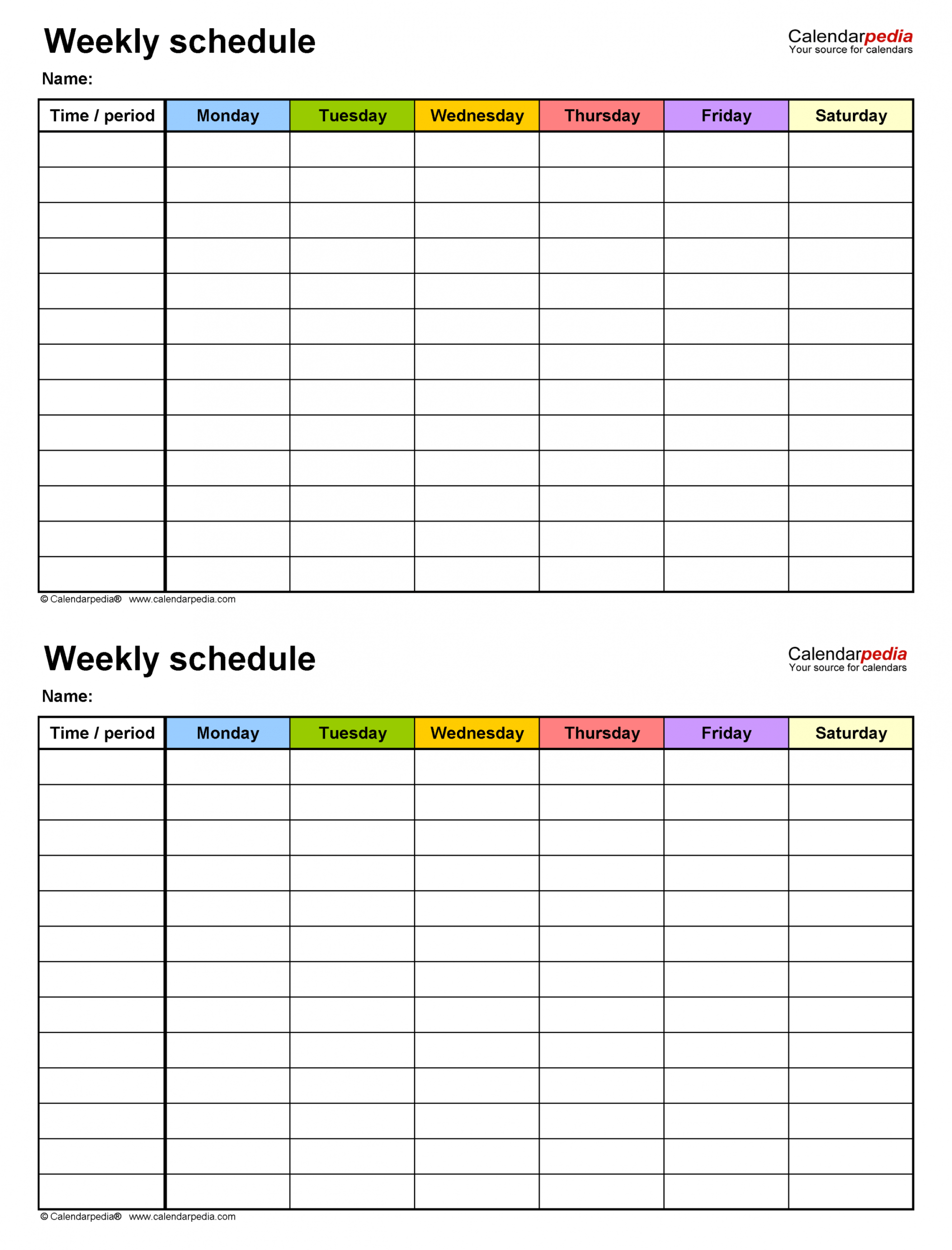 printable free weekly schedule templates for excel  18 templates 6 day work schedule template sample