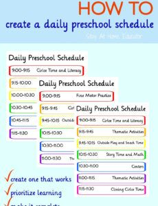 printable how to create a preschool schedule that works  stay at home preschool classroom schedule template sample