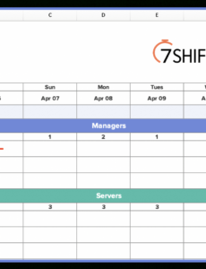 printable how to make a restaurant work schedule with free excel restaurant manager schedule template