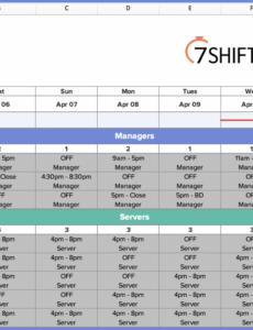 printable how to make a restaurant work schedule with free excel restaurant manager schedule template pdf