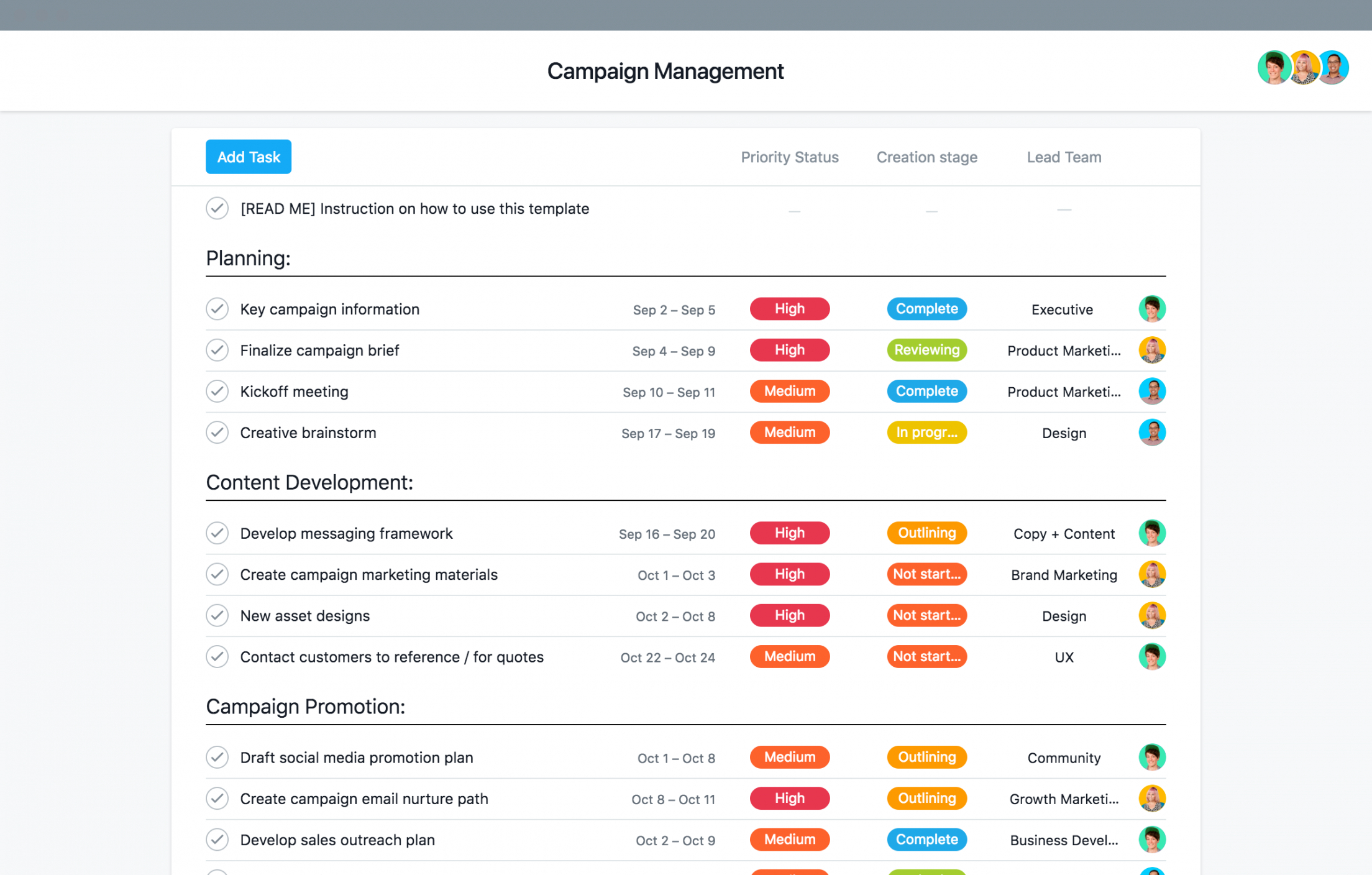 printable marketing campaign management template • asana marketing campaign plan template excel