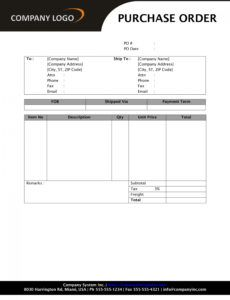 purchase order template construction purchase order template word