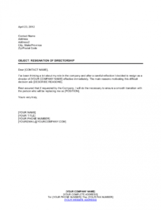 resignation of directorship template businessinabox™ corporate officer resignation letter word
