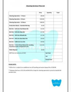 sample 8 cleaning price list templates  free word pdf excel janitorial schedule template word