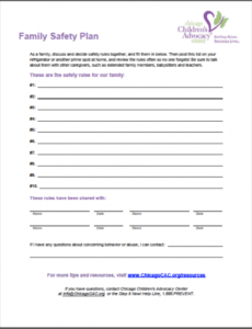 sample chicagocac family safety plan preview  chicago children's domestic violence safety plan template excel