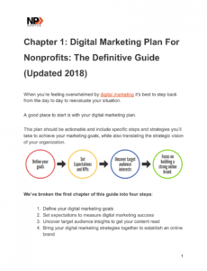 sample digital marketing plan template for nonprofits  nonprofits nonprofit marketing plan template doc