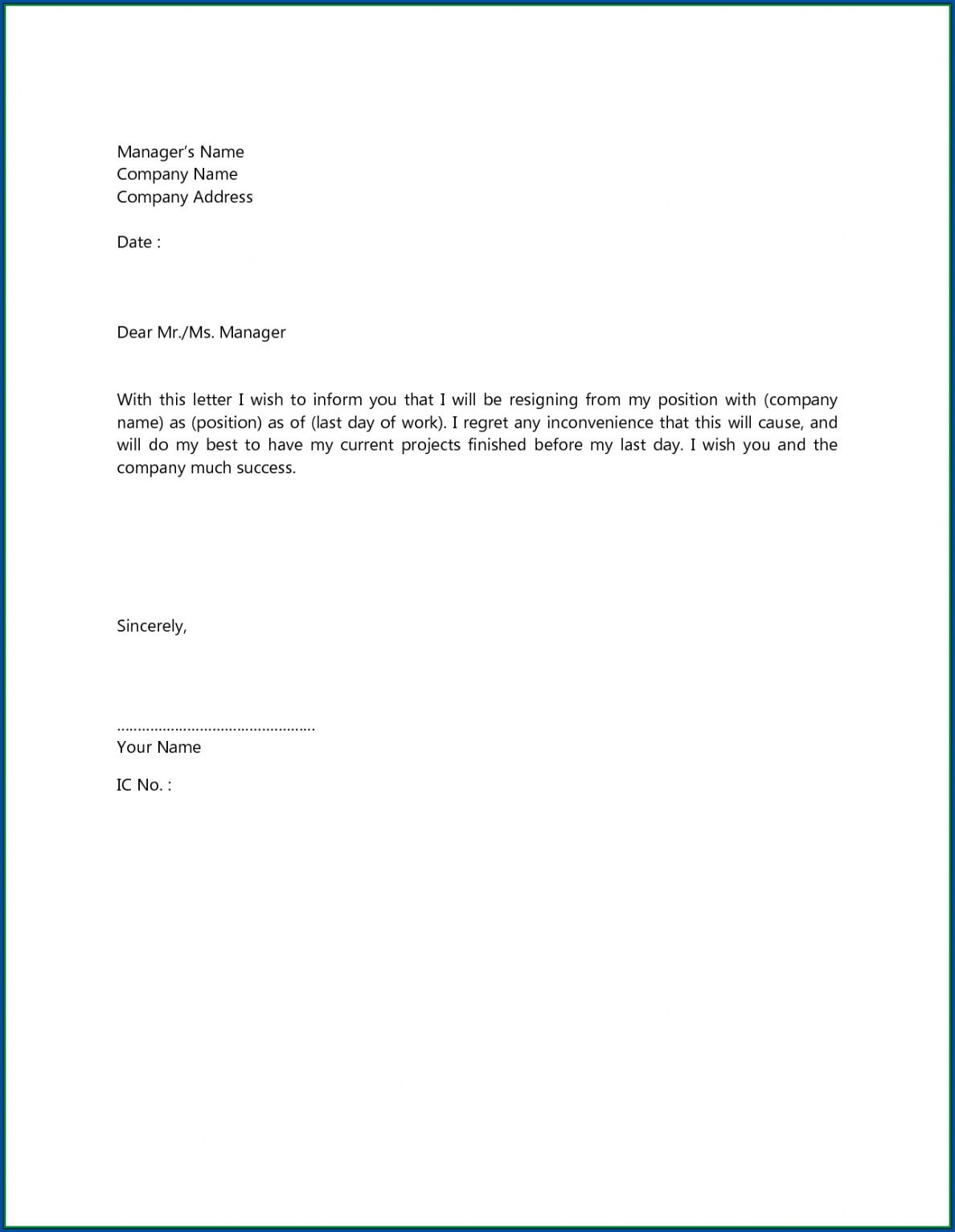 sample √ free printable short resignation letter template short notice resignation letter template pdf