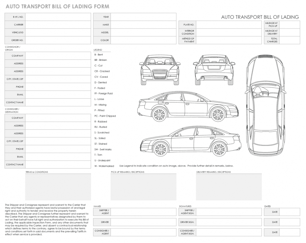 sample free bill of lading templates  smartsheet vehicle bill of lading template example