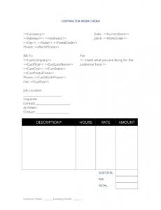 sample general contractor work order  3 easy steps contractor work order template pdf