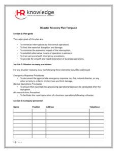 sample it disaster recovery plan template ~ addictionary emergency response plan template for small business doc