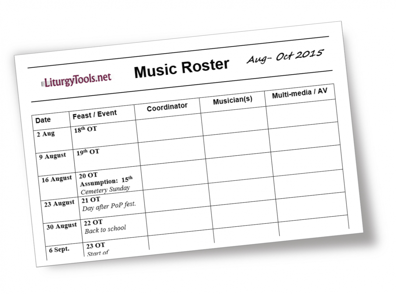sample liturgytools blank template for a church music roster worship team schedule template example