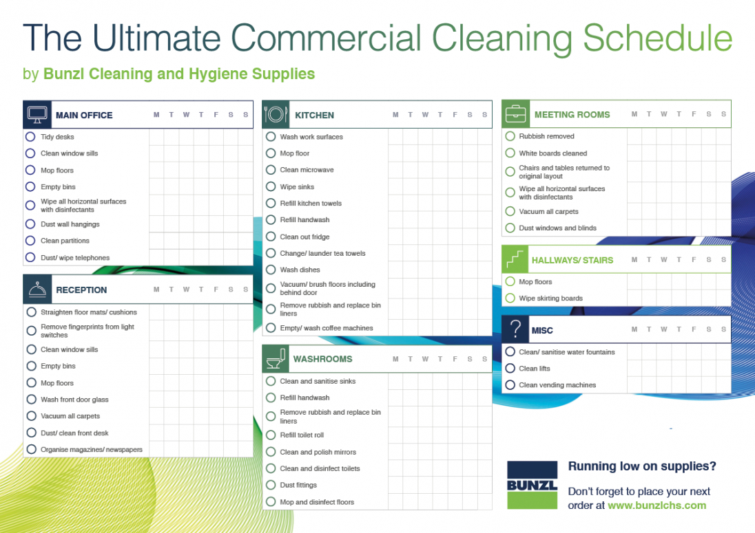 Best Custodial Cleaning Schedule Template Doc Example