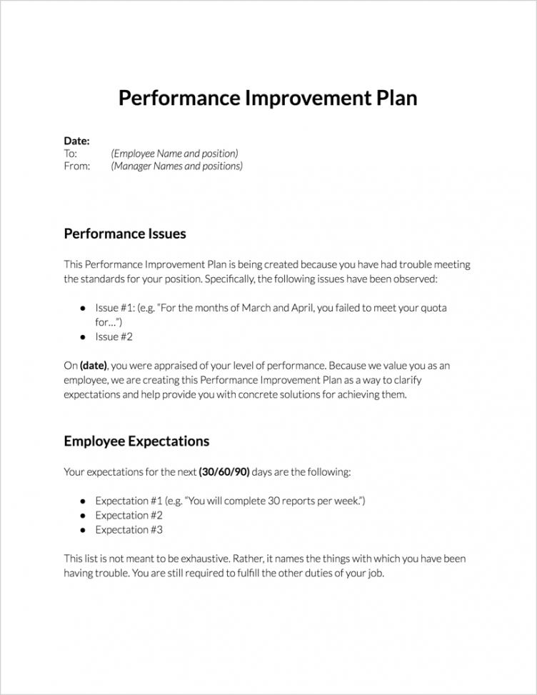 Best Employee Performance Action Plan Template Doc Sample