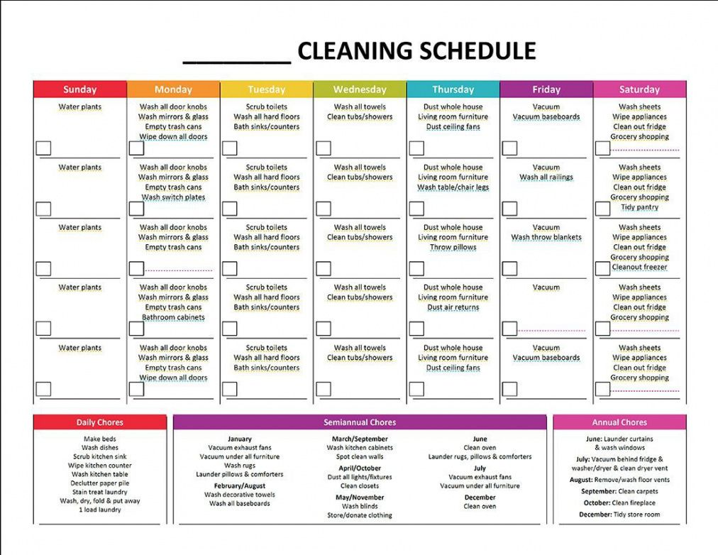 Best Weekly Cleaning Schedule Template  Sample