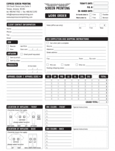 Editable Printing Work Order Form